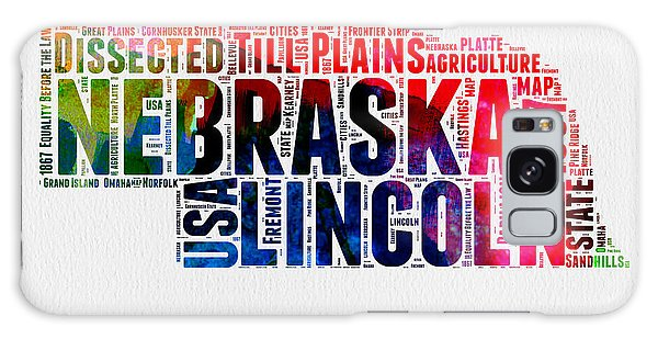 Usa Galaxy Case - Nebraska Watercolor Word Cloud  by Naxart Studio