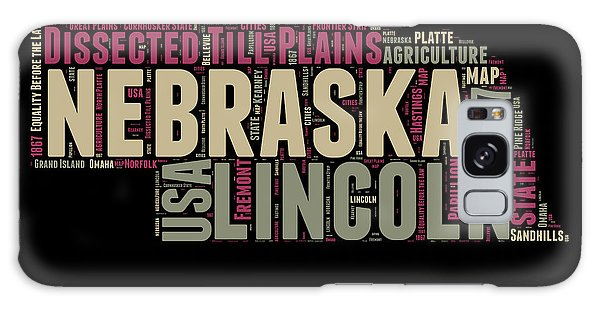 Usa Galaxy Case - Nebraska Word Cloud 1 by Naxart Studio
