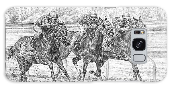 Neck And Neck - Horse Racing Art Print Galaxy Case