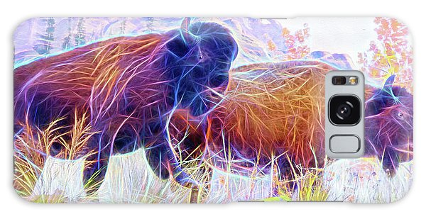 Galaxy Case featuring the digital art Neon Bison Pair by Ray Shiu