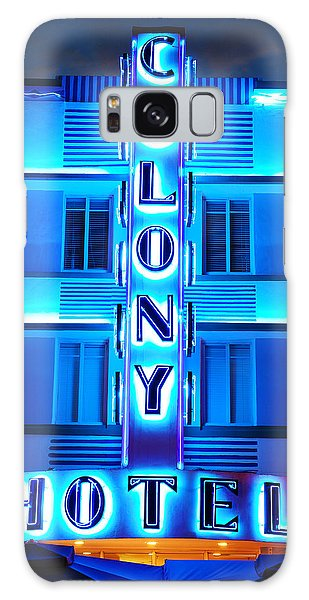 Neon Lights Of The Colony Hotel, Miami Beach Galaxy Case by James Kirkikis