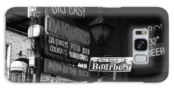 Neon Sign On Bourbon Street Corner French Quarter New Orleans Black And White Galaxy Case