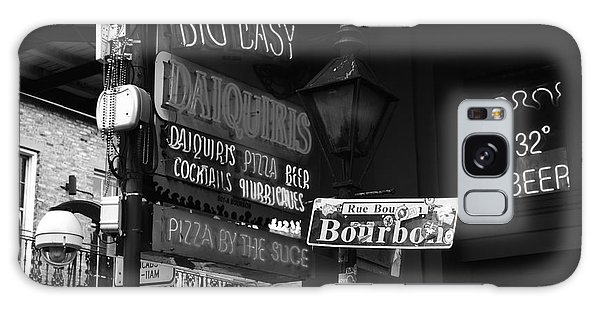 Neon Sign On Bourbon Street Corner French Quarter New Orleans Black And White Galaxy Case by Shawn O'Brien