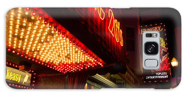 Neon Signs At Night In North Beach San Francisco With Light Bulb Awning Galaxy Case by Jason Rosette