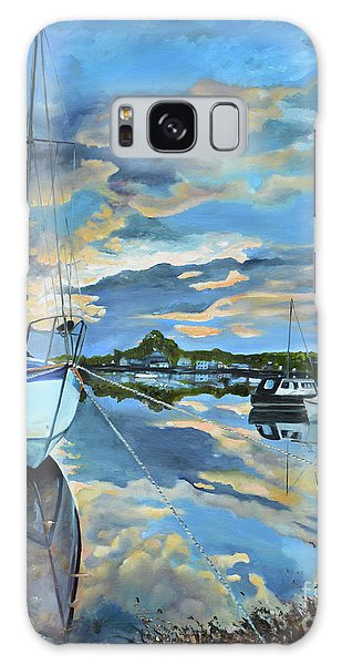 Galaxy Case featuring the painting Nestled In For The Night At Mylor Bridge - Cornwall Uk - Sailboat  by Jan Dappen