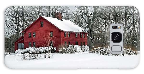 New England Colonial Home In Winter Galaxy Case