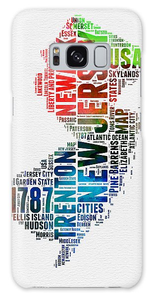 America Map Galaxy Case - New Jersey Watercolor Word Cloud  by Naxart Studio