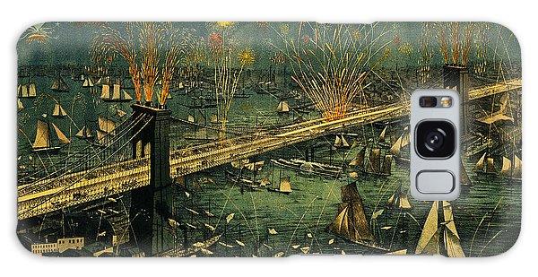 New York And Brooklyn Bridge Opening Night Fireworks Galaxy Case by John Stephens