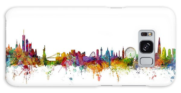 New York And London Skyline Mashup Galaxy Case by Michael Tompsett