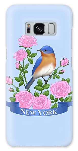 Eastern Bluebird Galaxy Case - New York Bluebird And Pink Roses by Crista Forest