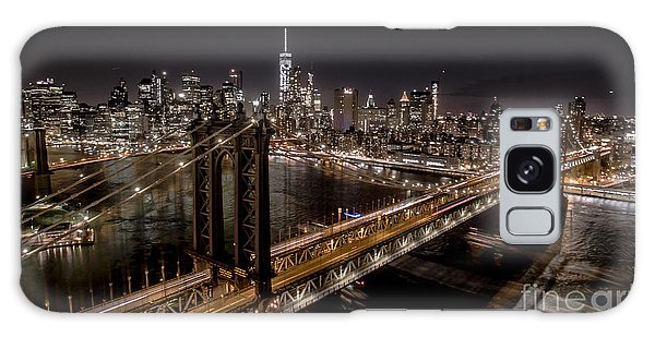 New York City, Manhattan Bridge At Night Galaxy Case