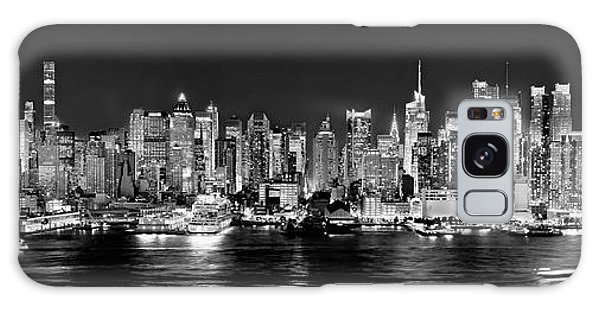 Times Square Galaxy Case - New York City Nyc Skyline Midtown Manhattan At Night Black And White by Jon Holiday