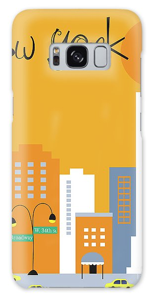 New York City Taxi Galaxy Case - New York City Vertical Skyline - Empire State At Dawn by Karen Young