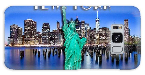 Center Galaxy Case - New York Classic Skyline With Statue Of Liberty by Az Jackson