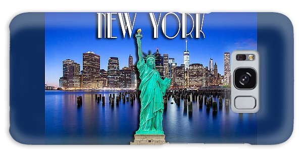 Statue Of Liberty Galaxy S8 Case - New York Classic Skyline With Statue Of Liberty by Az Jackson