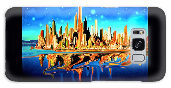 New York Skyline In Blue Orange - Modern Fantasy Art Galaxy Case