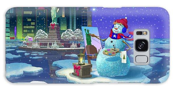 New York Snowman Galaxy Case by Michael Humphries