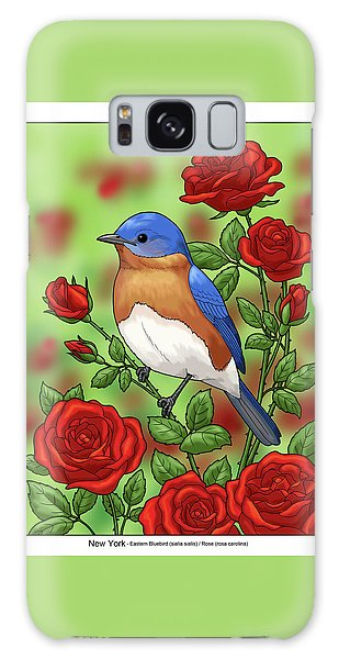 Eastern Bluebird Galaxy Case -  New York State Bluebird And Rose by Crista Forest