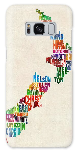 New Zealand Typography Text Map Galaxy Case