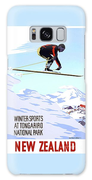 New Zealand Winter Sports Vintage Travel Poster Galaxy Case