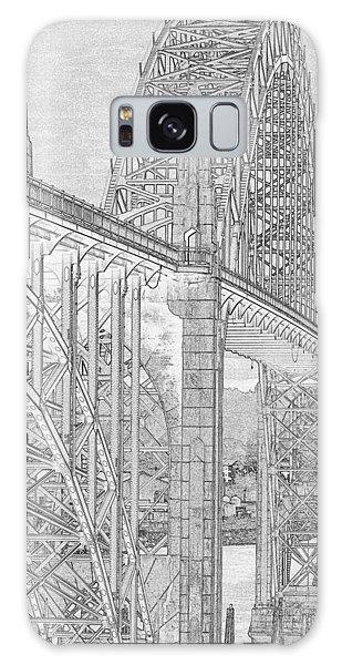 Galaxy Case - Newport Bridge Pen And Ink by Bob Neiman