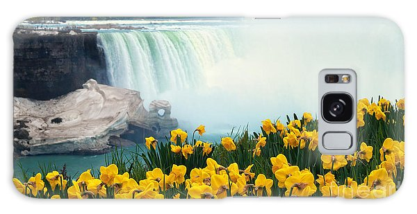 Niagara Falls Spring Flowers And Melting Ice Galaxy Case
