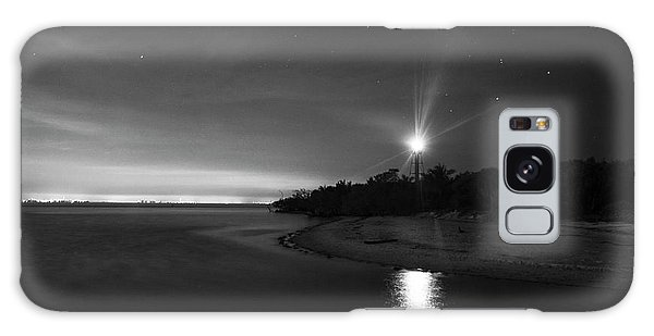 Night At The Sanibel Lighthouse In Black And White Galaxy Case