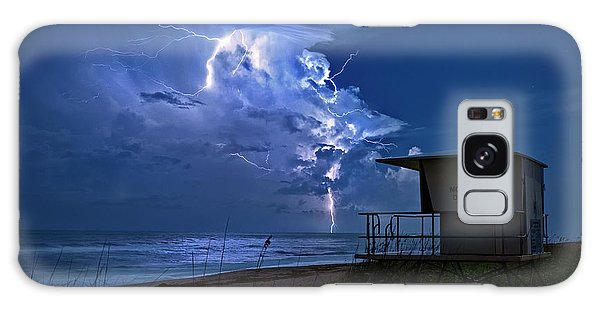 Night Lightning Under Full Moon Over Hobe Sound Beach, Florida Galaxy Case by Justin Kelefas