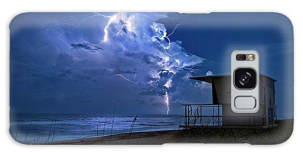 Night Lightning Under Full Moon Over Hobe Sound Beach, Florida Galaxy Case by Justin Kelefas