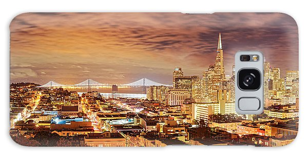 Night Panorama Of San Francisco And Oak Area Bridge From Ina Coolbrith Park - California Galaxy Case
