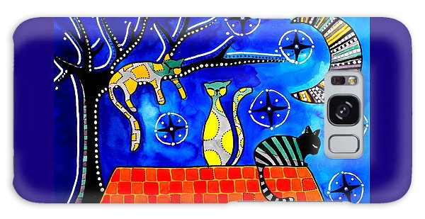 Night Shift - Cat Art By Dora Hathazi Mendes Galaxy Case by Dora Hathazi Mendes