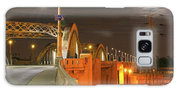 Night Shot Of The Los Angeles 6th Street Bridge And Supermoon #1 Galaxy Case