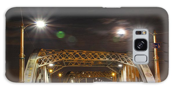 Night Shot Of The Los Angeles 6th Street Bridge And Supermoon #5 Galaxy Case