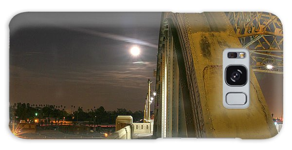 Night Shot Of The Los Angeles 6th Street Bridge And Supermoon #6 Galaxy Case