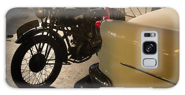 Night Time Silhouette Of Vintage Motorcycle Near Tail Of 50's St Galaxy Case by Jason Rosette