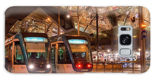 Night View Of Two Trams At Glories Station  Galaxy Case