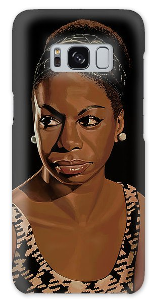 B B King Galaxy Case - Nina Simone Painting 2 by Paul Meijering