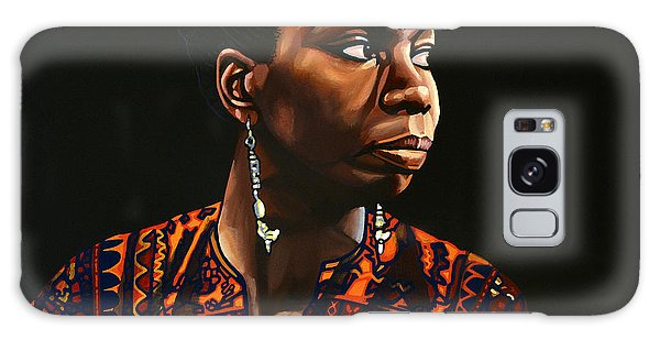 B B King Galaxy Case - Nina Simone Painting by Paul Meijering