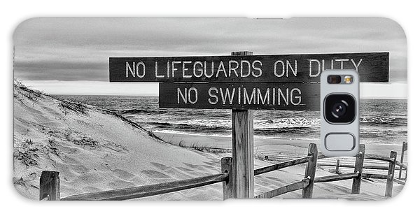 No Lifeguards On Duty Black And White Galaxy Case by Paul Ward