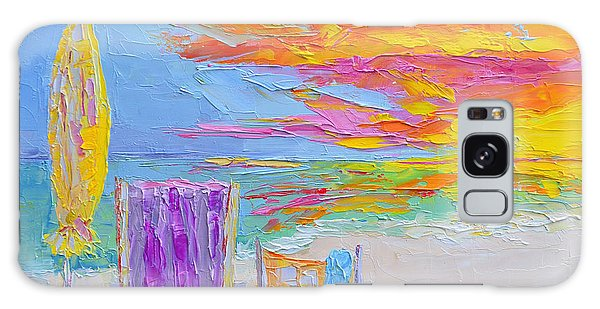 No Need For An Umbrella - Sunset At The Beach - Modern Impressionist Knife Palette Oil Painting Galaxy Case