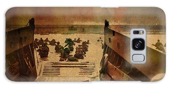 Tint Galaxy Case - Normandy Beach On Dday World War Two Watercolor Tinted Historical Photograph On Worn Canvas by Design Turnpike