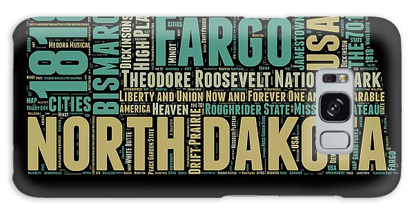 Usa Galaxy Case - North Dakota Word Cloud 1 by Naxart Studio