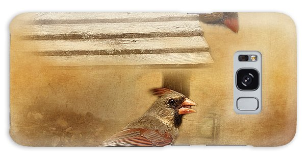 Northern Cardinals At Sunrise Galaxy Case