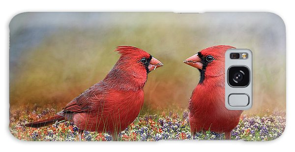 Northern Cardinals In Sea Of Flowers Galaxy Case by Bonnie Barry