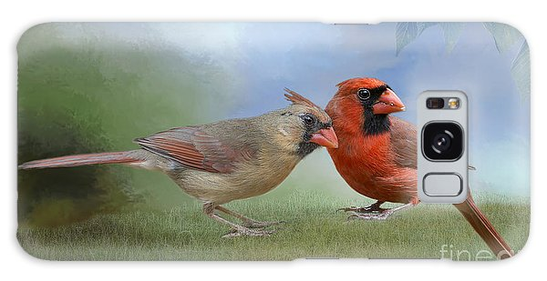 Northern Cardinals On A Spring Day Galaxy Case by Bonnie Barry
