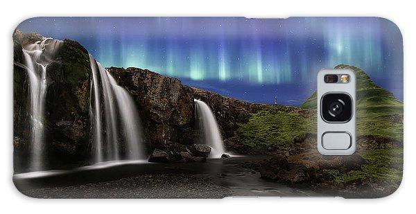 River Galaxy Case - Northern Lights At Kirkjufellsfoss Waterfalls Iceland by Larry Marshall