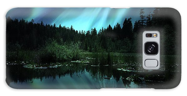 Northern Lights Over Lily Pond Galaxy Case