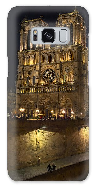 Galaxy Case featuring the photograph Notre Dame Night Painterly by Joan Carroll