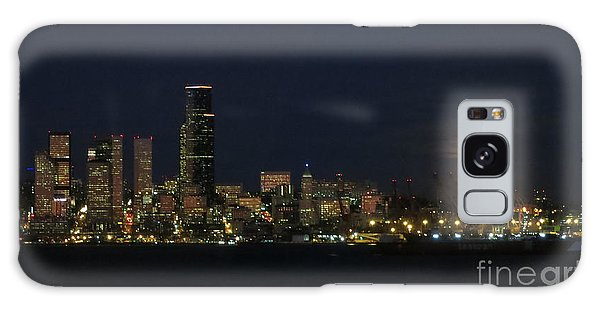 November Beaver Moon Rises Over Seattle Galaxy Case by Tanya Searcy