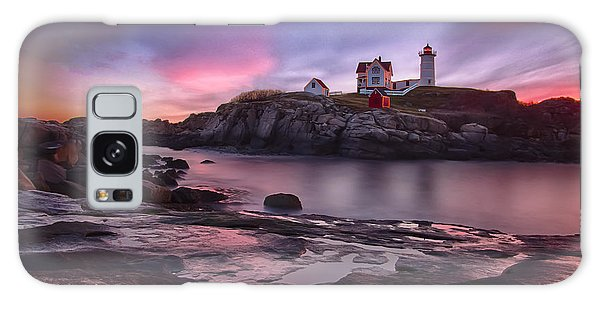 Nubble Lighthouse At Sunrise York Me Galaxy Case by Betty Denise